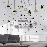 Table Combination Wall Sticker Black Pattern
