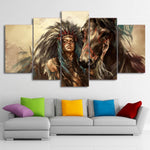 American Indian Girl Brown Horse Poster Art