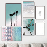 Coconut Palm Tree Pink Beach Sea Umbrella Wall Art Canvas