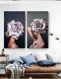 Abstract Art Painting Flower Girl sexy Women Canvas wall decorations
