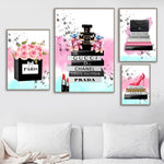 Peony Flower Bag High Heel Perfume Makeup Wall Art