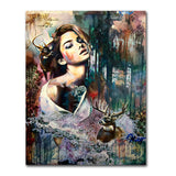Watercolor Girl With Animals Canvas Painting