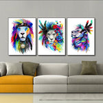 3PCS Colorful Lion Home Decoration Wall Art Canvas