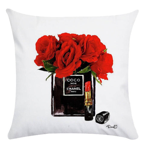 45cm*45cm Hand painted flowers and perfume bottles super soft cushion New Arrival