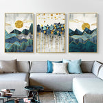 Nordic Abstract Geometric Mountain Landscape Wall Art in Canvas