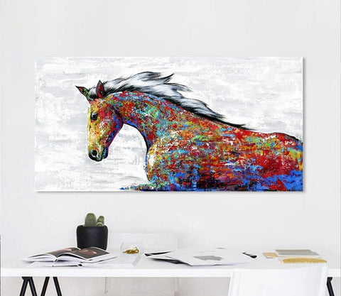 Wall Art Colorful Horse Canvas Poster No Frame