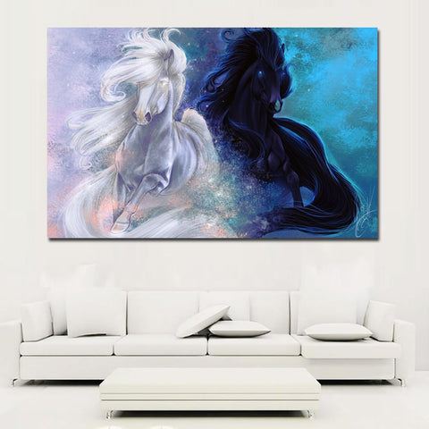 white and blue Horses Canvas Decorative