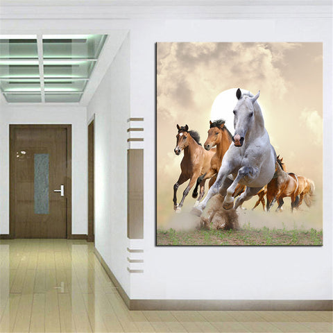 Art Horses Run Large print on canvas