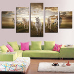 5 Panel  Art Animal horse painting print on canvas wall