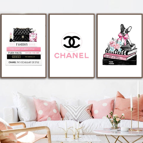 Fashion Poster Lipstick PerfumeVogue Magazines  Wall Art Prints