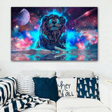 Cartoon Lion Abstract Prints for Bed Room