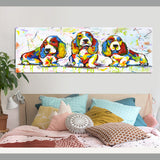 Large Size Canvas Art Cute Colorful Dog Animal Graffiti