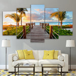 5 Panel Coast Board Walk Palms Beach Living Room Wall Art