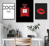 Modern Coco Perfume Vintage Fashion in Canvas Decor