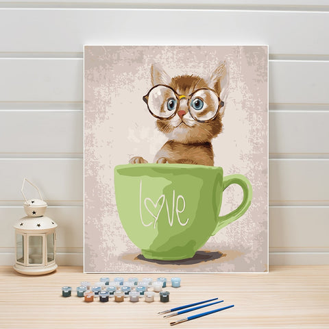 Animal Cat DIY Paint By Numbers On Canvas Wall Art
