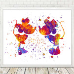 Watercolor Mickey Minnie Mouse Nursery Art Prints