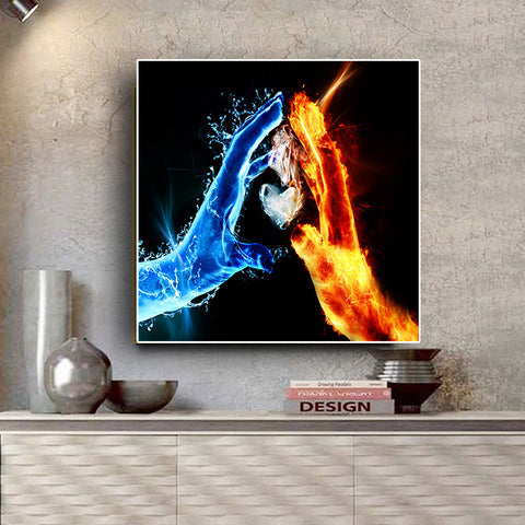 Fire and Water Love Warrior Canvas Art for Living Room Decoration