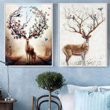 Nordic Dream Elk Watercolor Bird Flower and Deer Dialogue Illustration