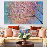 Large 100%  Handpainted Flowers Tree Abstract