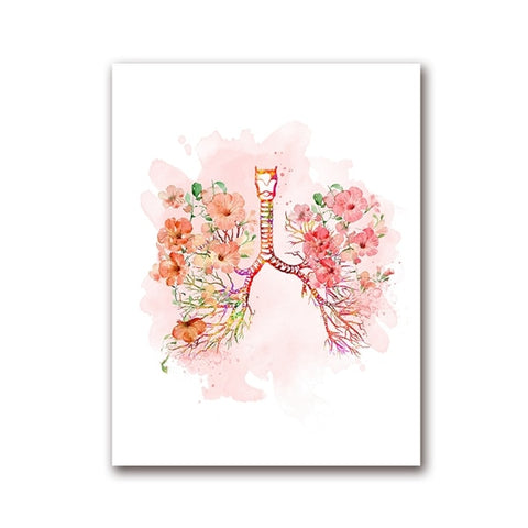 Lungs and Flower Print Bronchi Watercolor Wall Art Canvas