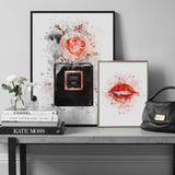 Fashion Paris Perfume Lips Flowers Wall Art Vogue