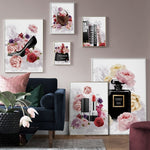 Fashion Book Perfume Flower Paris Lipstick Wall Art Canvas