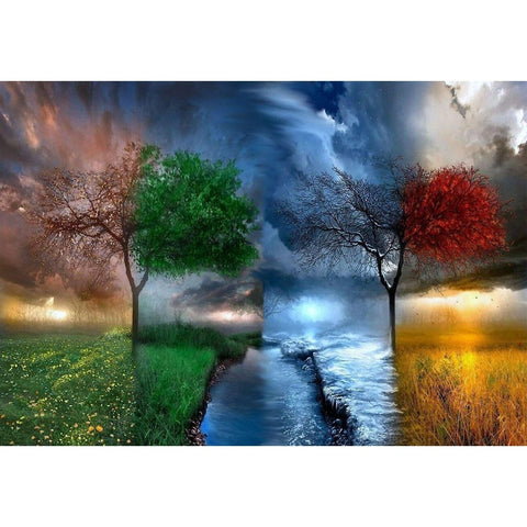 Four Seasons Tree Scenery DIY Digital Painting By Numbers  40x50cm