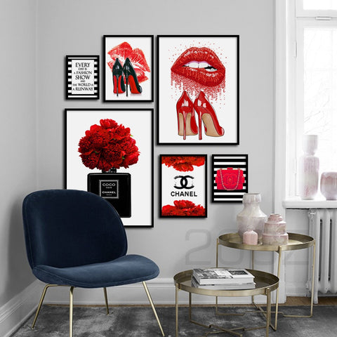 Fashion Paris Perfume Red Lips Flower Wall Art