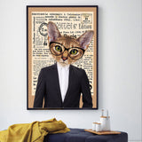 Cat in a suit with glasses No Frame