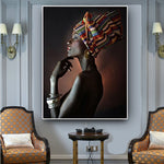 African Nude Woman Indian Headband Portrait in Canvas