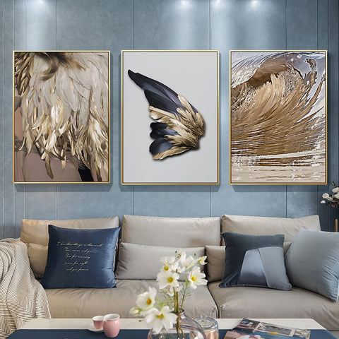 modern golden wings Nordic decor feathers canvas