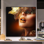 Nordic Modern Gold Lips Fashion Sexy Women Painting Canvas for Living Room