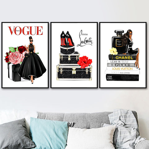 Fashion Book Flower Perfume Girl Salon Wall Art