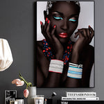 Sexy Black Nude African Woman Lips and Nails canvas print decor
