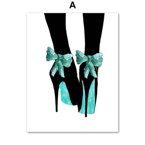Watercolor Vogue Perfume High Heels Salon Wall Art