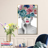 Fashion Beautiful Woman Portrait and Flower Canvas