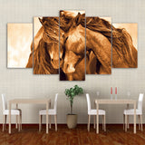 5 piece canvas art red horse couple