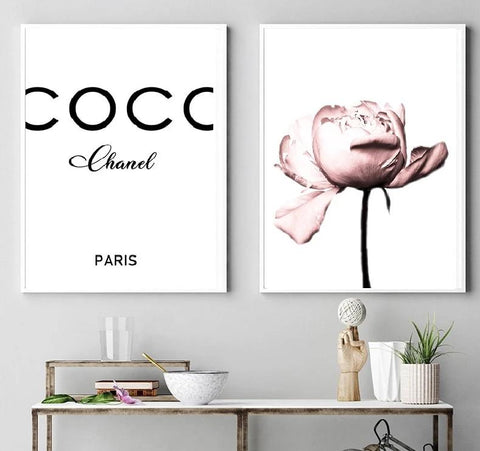 Peony Flower Wall Art Coco Print Fashion Blush Pink