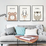 Nordic Cartoon Animal Mural Canvas Art for Children's Room Decoration Unframed