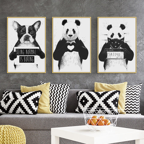 Animal Panda Dog Picture Black White Painting for Living Room
