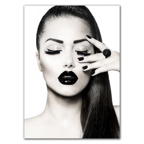 Fashion Beauty Makeup Girl Red Lip art in Canvas