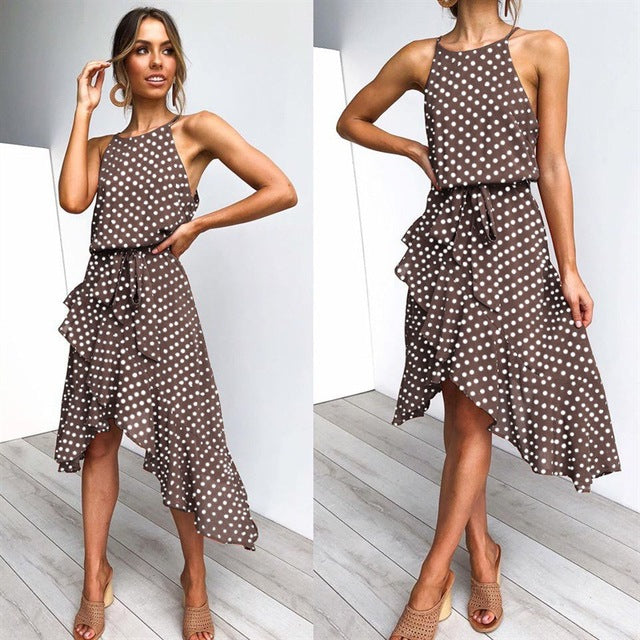 Beautiful Polka Dot Spaghetti Strap Dress