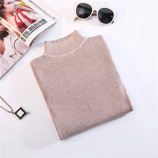 Turtleneck Pullover Sweaters - Slim-fit