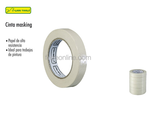 "CINTA MASKING TAPE 1/2"" X 50M LION TOOLS 2267"