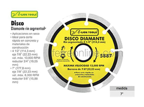 "DISCO DIAMANTE SEGMENTADO 7"" LION TOOLS 5886"