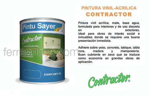 PINTURA VIN CAPUCHINO 4LT SAYER CONTRACTOR VC-0701.40