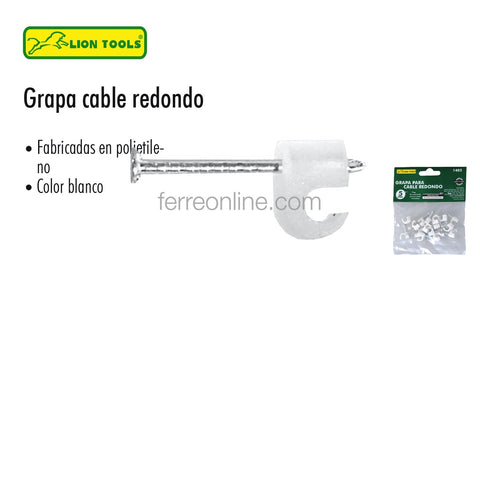 GRAPAS PARA CABLE REDONDO BCAS 12MM LION T. 1409 (20PZA)