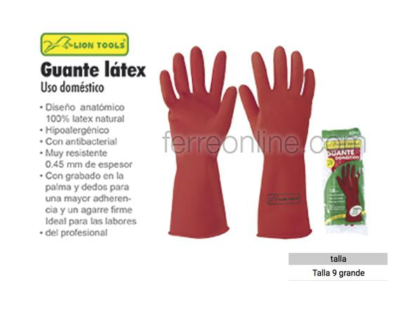 GUANTE DE LATEX #9 LION TOOLS 0392 (USO DOMESTICO)