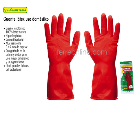 GUANTE DE LATEX ROJO CHICO LION TOOLS 7170