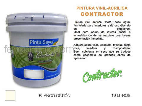PINTURA VIN BCO OSTION 19LT SAYER CONTRACTOR VC-0229.50